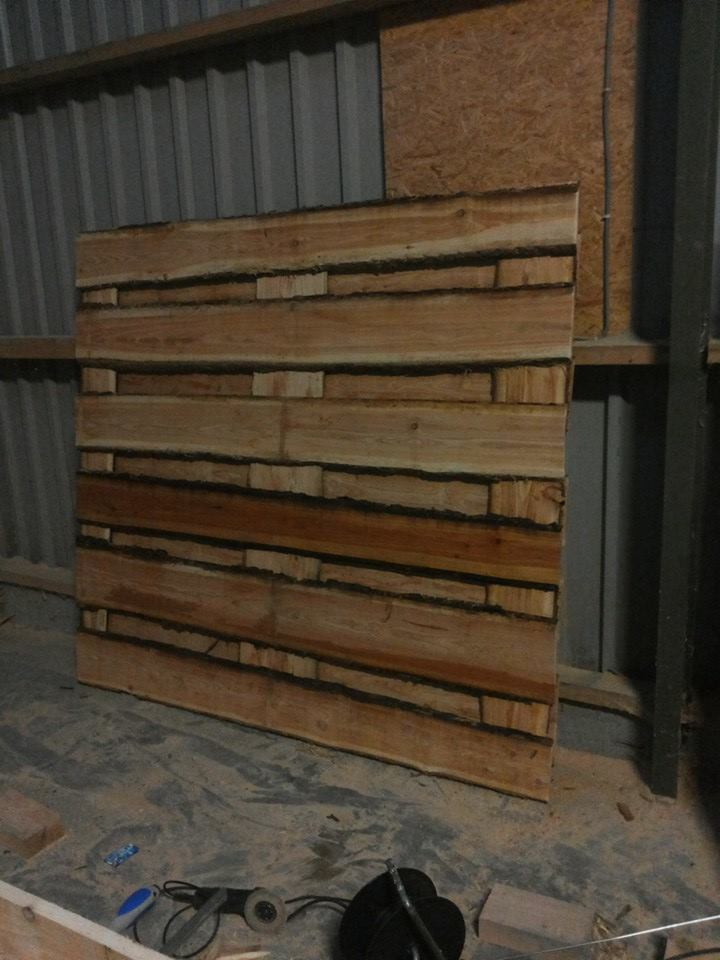 houten schutting van schaaldelen